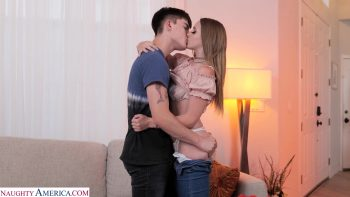 Laney Grey fucks her friend's brother on a brand new couch!